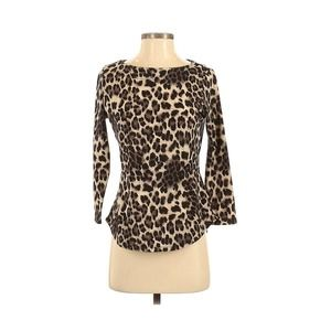 Rebecca Taylor Leopard Animal Print Knit Top